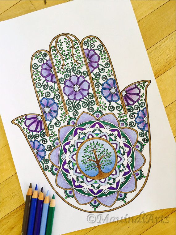 Hand Drawn Adult Coloring Page Print Hamsa Tree of by MauindiArts