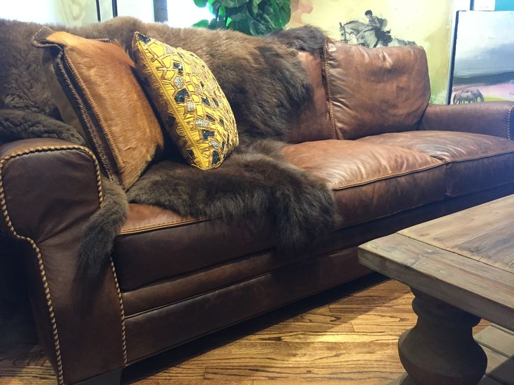 Superb Stonewood Bison Leather Sofa By Eleanor Rigby. Minus The Arm Stitching.