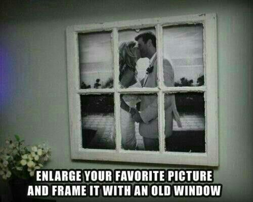 Re-purpose old window into picture frame