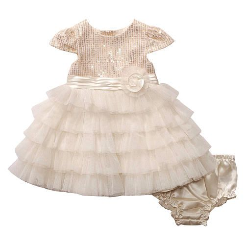 Koala Baby Girls Gold Sequin Sleeveless Dress With Tiered