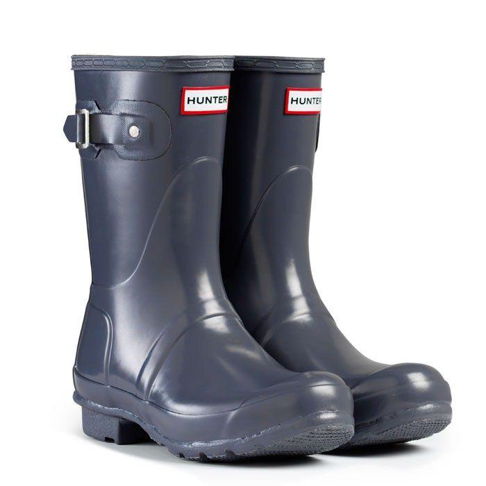 Hunter Wellies Rain Boots Original Gloss Short Grey - from Queue shoes