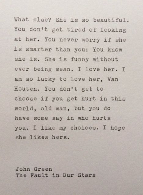 John Green The Fault in Our Stars quote typed by WhiteCellarDoor, $20.00