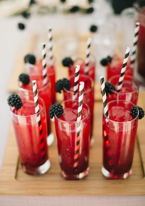 Red and blackberry wedding drinks | Planning and design by Enjoy Events Co | photo by Delbarr Moradi Photography