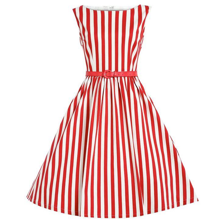 Audrey Red Stripe Swing Dress | Vintage Style Dresses - Lindy Bop