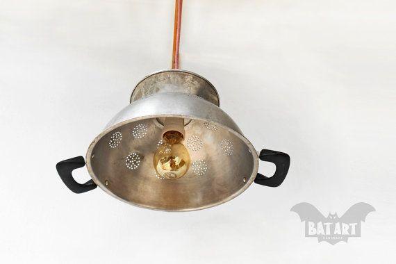 BAT™ JAR Pendant Light - Aluminium Vintage colander handles - Lighting Fixture strainer - Chandelier - Color textile wire - E27 lampholder by Think4HandmadeArt, 40€
