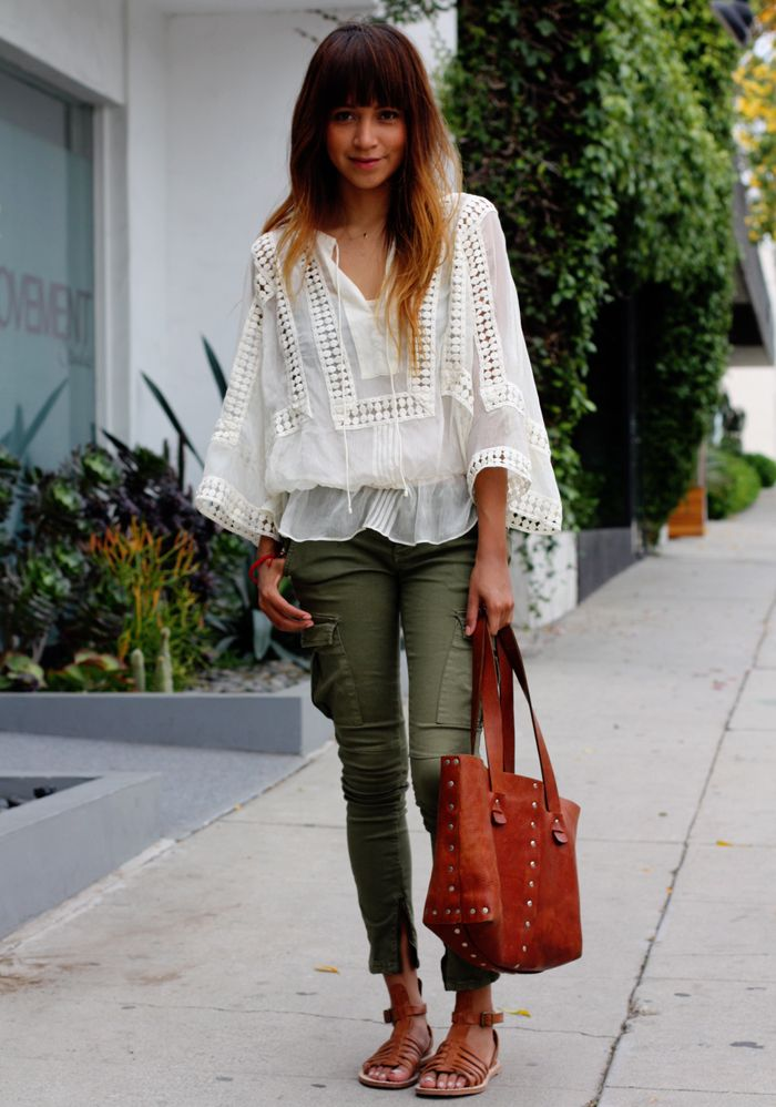 Blouse: from Nordstrom // Skinny cargos: Free People // Bag: Vin Baker // Sandals: DKNY