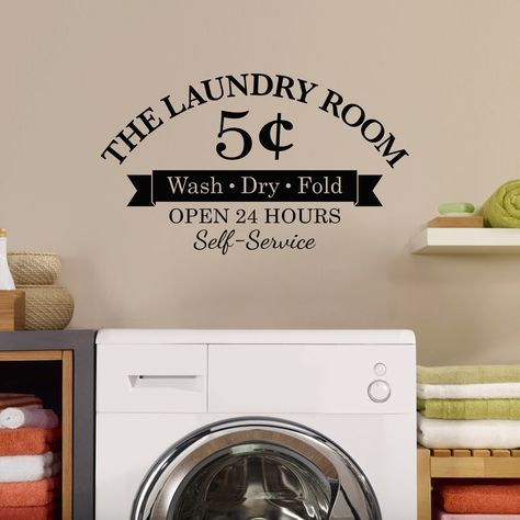 5 Cents Laundry Wall Decal - Wash Dry Fold - Open 24 Hours - Self-Service - The Laundry Room - Medium
