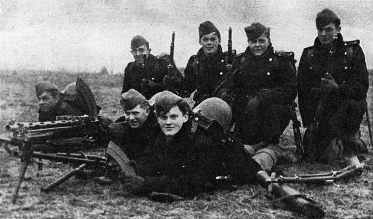 A group of Danish soldiers on the morning of the German invasion, 9 April 1940. Two of these men were killed later that day. Sixteen Danish soldiers died in the invasion, but after two hours the Danish government surrendered, believing that resistance was useless and hoping to work out an advantageous agreement with Germany.