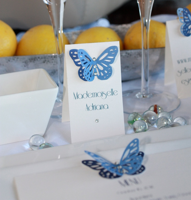Blue and White 3D Butterfly Escort Place