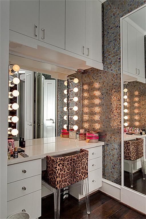 "Makeup station in a recessed ""closet"" space, with the mirror being a sliding door to a large actual closet, or to a walk-in closet."