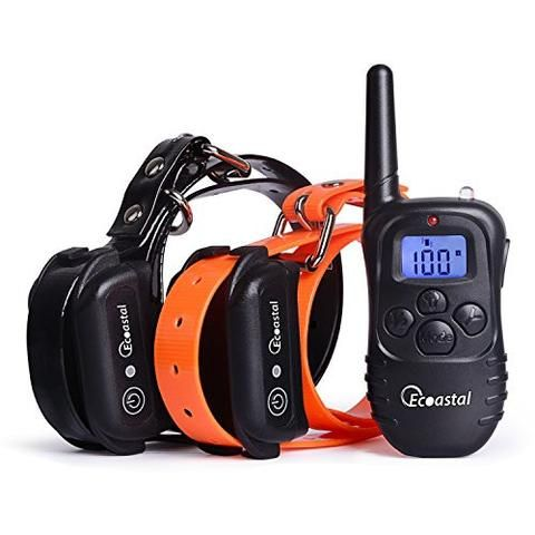 Dog shock collar, Ecoastal® Remote Dog Trainer For 2 Dogs With Beep Vibration Electronic Shock, Rechargeable, Waterproof, Long Range Training Collars