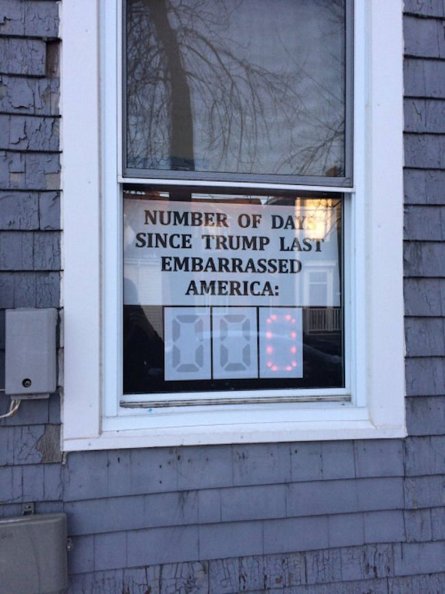 The Trump Number of Days Without Embarrassing America -- Stuck On Zero Indefinitely (as long as He's in Office??) ... the sign could probably even be altered to Hours without change, though I guess, despite his unhinged all-hours Tweetstorms, he still sleeps sometime?