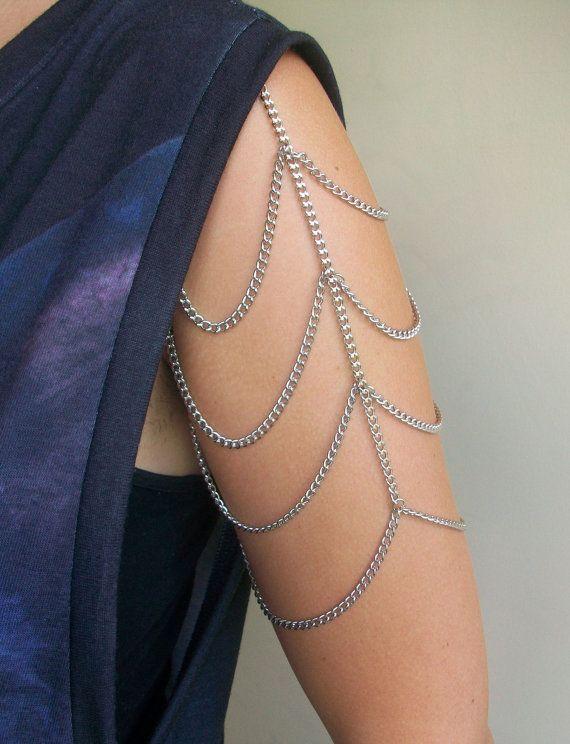 Arm Chain Web Shoulder Arty Avant Garde Clip Gold or Silver Bodychain Harness Body Chain Slave Chain Armor. $14,00, via Etsy.