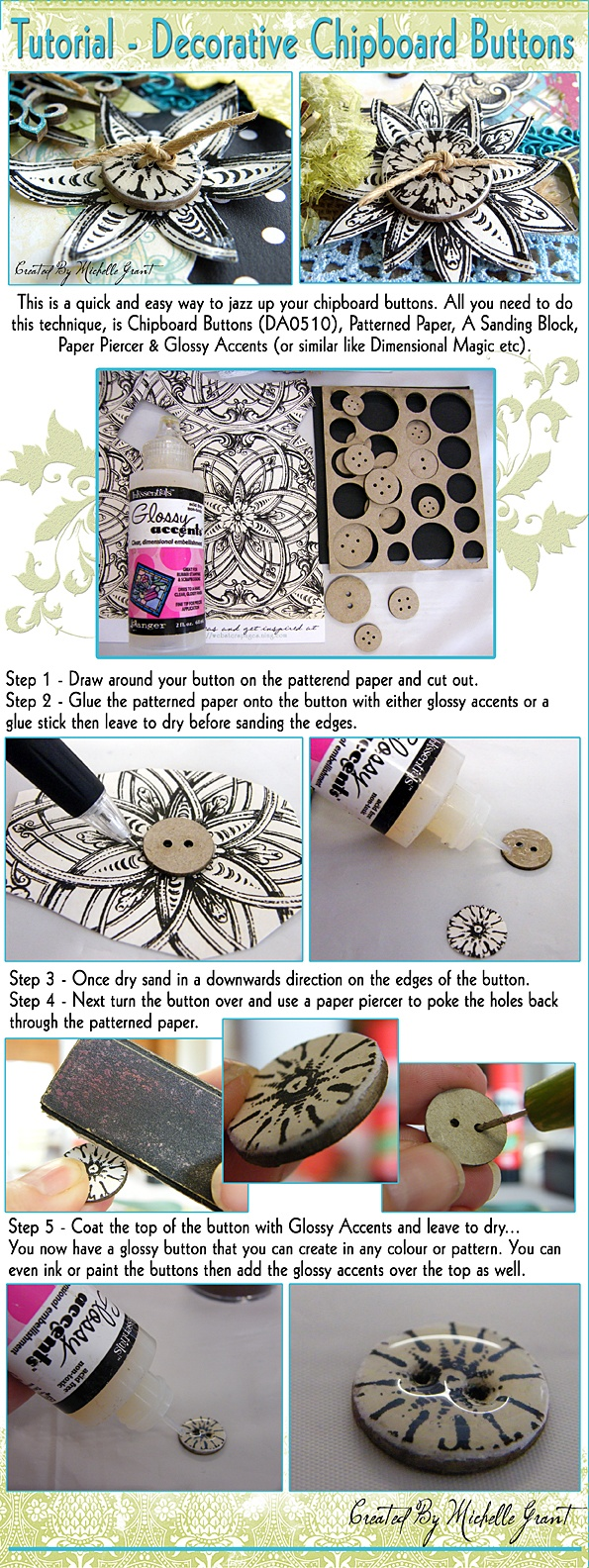 Tutorial - Decorative Chipboard Buttons
