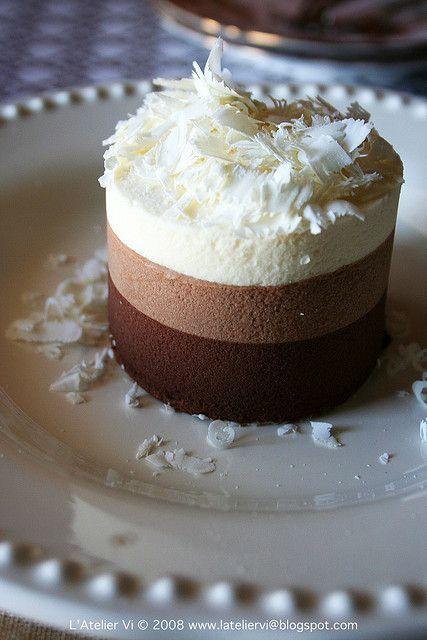triple mousse: http://www.epicurious.com/recipes/food/views/Triple-Chocolate-Mousse-Torte-1696