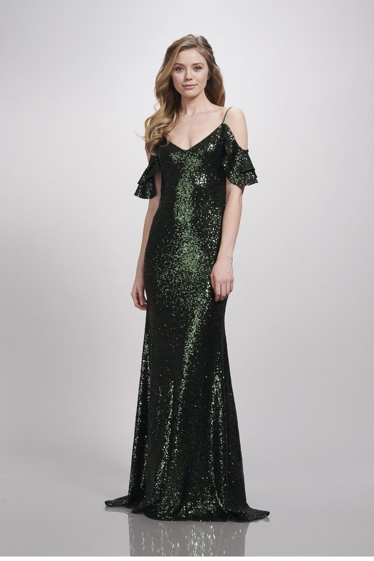 Theia - Scarlet Cold-shoulder double ruffle flounce sleeve, micro sequin embroidered tulle slip Bridesmaid Dress.