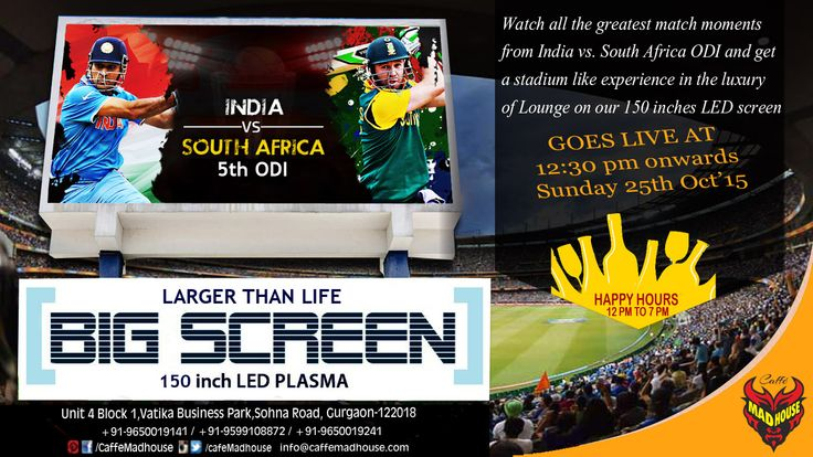 Watch India Vs. South Africa 5th ODI Live on a large screen at Caffe Mad House. Get set, put on those blue jerseys, bring on your loudest cheering voices and get together with friends and strangers alike to soak in the cricket fever beginning 12:30 pm..  #livecricket #cricket #bigscreensports #sports #buffetlunch