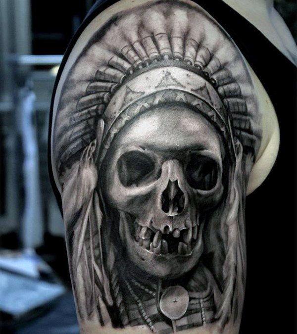 80 Indian Skull Tattoo Designs For Men Cool Ink Ideas Indian Skull Tattoos Half Sleeve Tattoos Designs Half Sleeve Tattoo