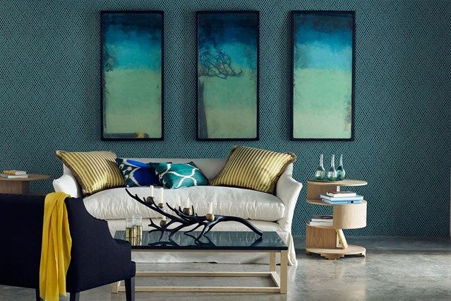 Blue Living Room with Tinted Mirrors - living room design, inspiration and ideas on HOUSE by House & Garden. Living room furniture, colour schemes and wallpaper for homes small and large