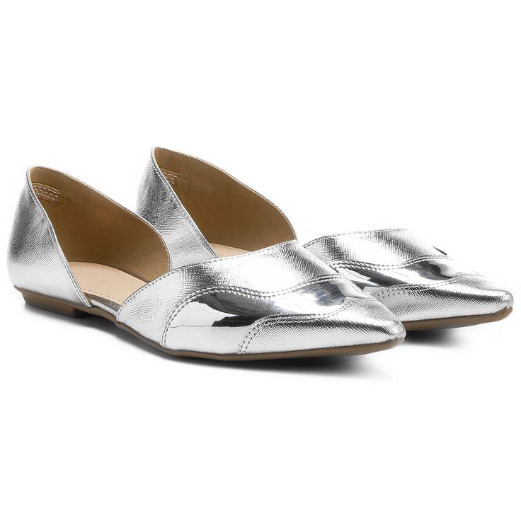 Sapatilha Shoestock Semi Aberta Bico Fino Safiano Prata | Zattini