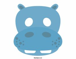Hippo mask templates including a coloring page version of the mask. Free printable PDF at http://maskspot.com/download/hippo-mask/