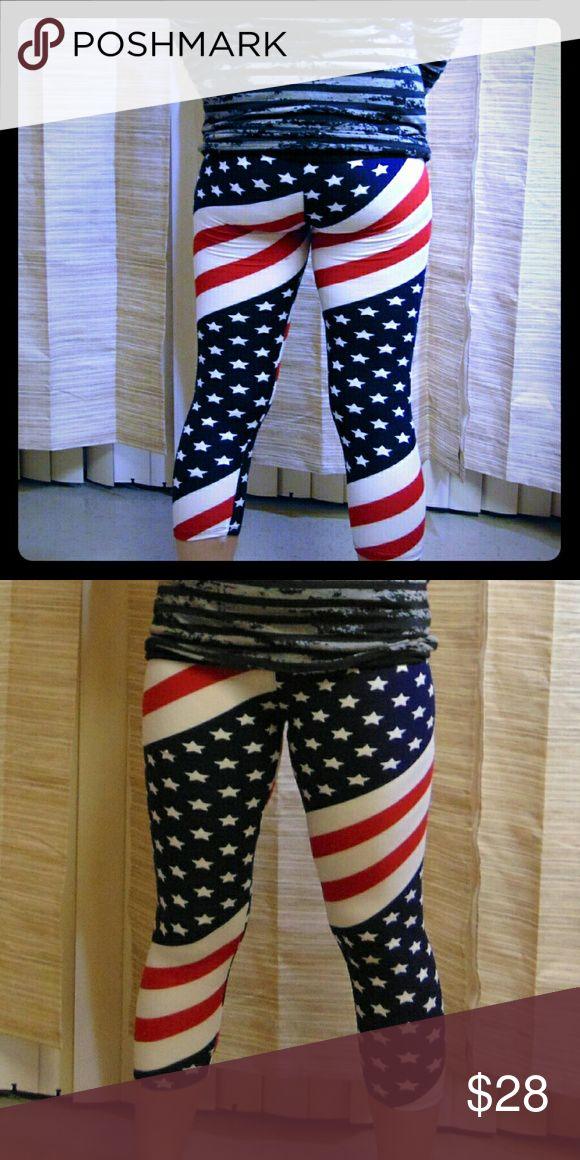 American Flag Capri Leggings American Flag Capri Leggings  One Size 92% Polyester 8% Spandex  NWT Retail  God Bless America! Ring Pants Leggings