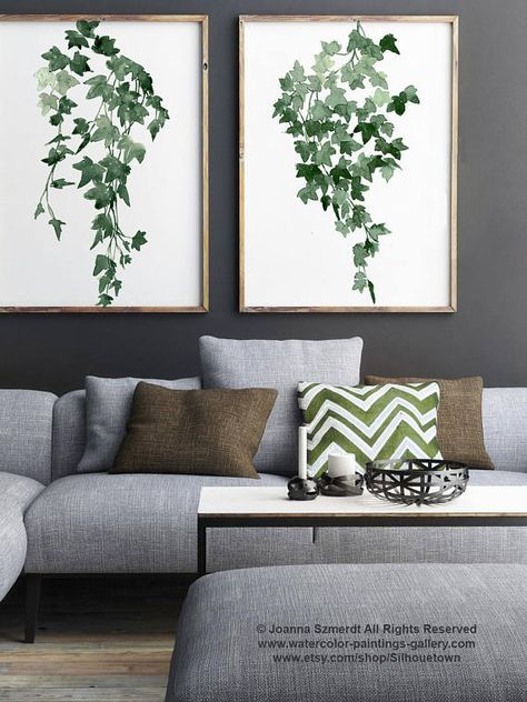 Ivy Watercolour Painting set 2 Botanical Plants Wall Decor Living Room Plant Art Print two Illustrations Green Poster Modern Home Decoration