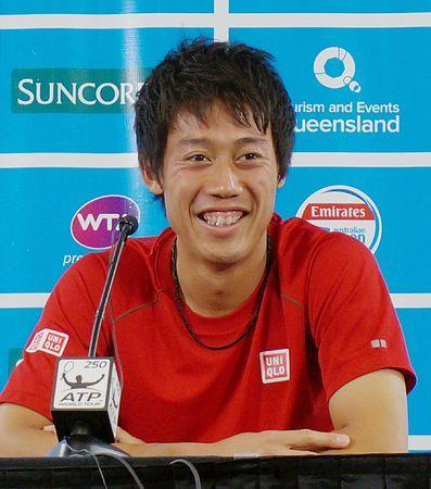 今季シングルス初戦を控え、記者会見で笑顔を見せる錦織圭=6日、オーストラリア・ブリスベン ▼6Jan2015時事通信|錦織「より大きなタイトルを」=7日、今季シングルス初戦-テニス http://www.jiji.com/jc/zc?k=201501/2015010600812 #Kei_Nishikori