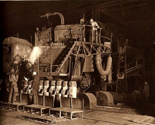 The first electric steelmaking furnace in Poldi (bought in 1907)