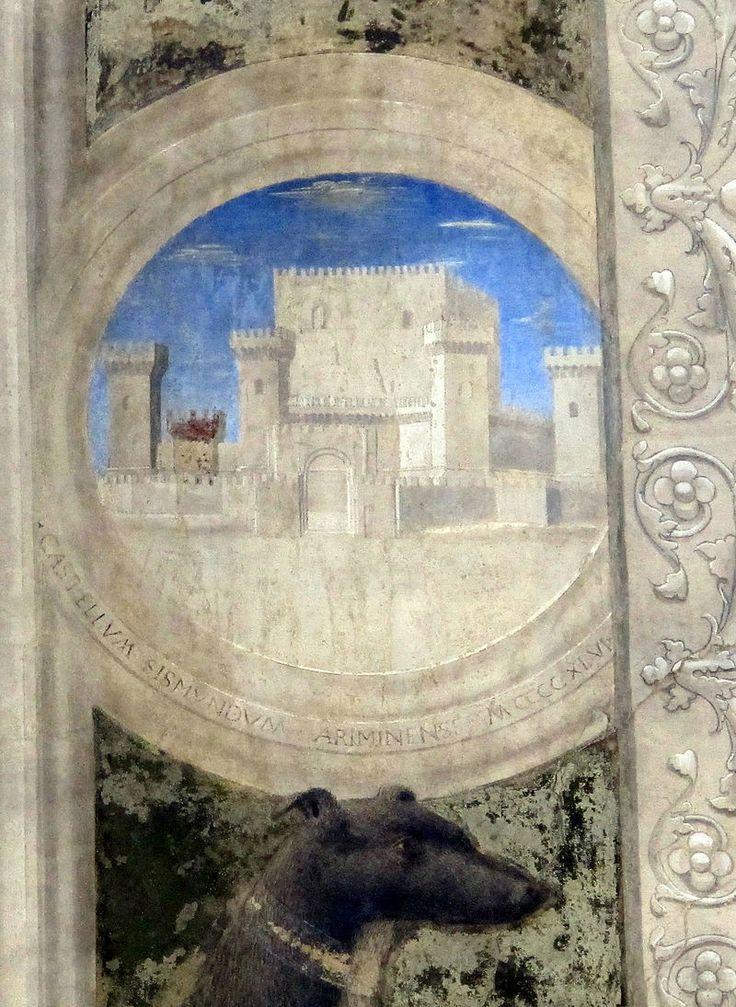 Piero della Francesca - Sigismondo Pandolfo Malatesta in preghiera davanti a San Sigismondo, dettaglio - affresco - 1451 - Tempio Malatestiano di Rimini.