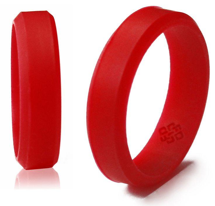 bevel silicone wedding rings for men and women in 5mm 6mm 8mm bandwidths award winning designer - Sports Wedding Rings