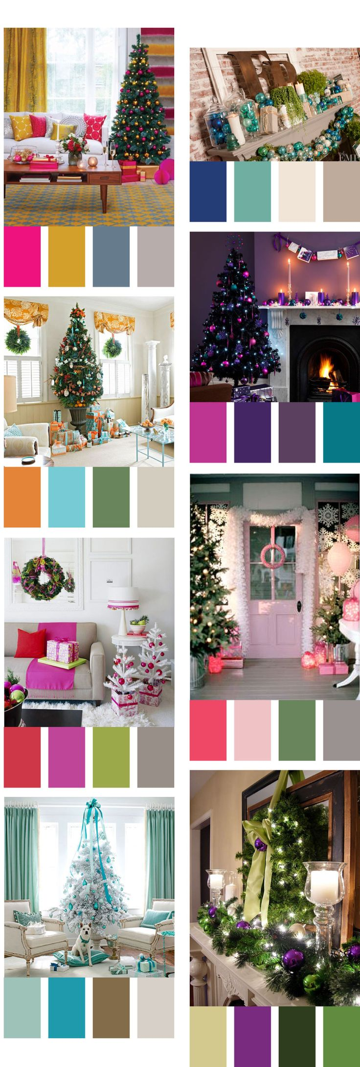 Great non traditional christmas color palettes! @Lola Belle Co. thought you would like this!
