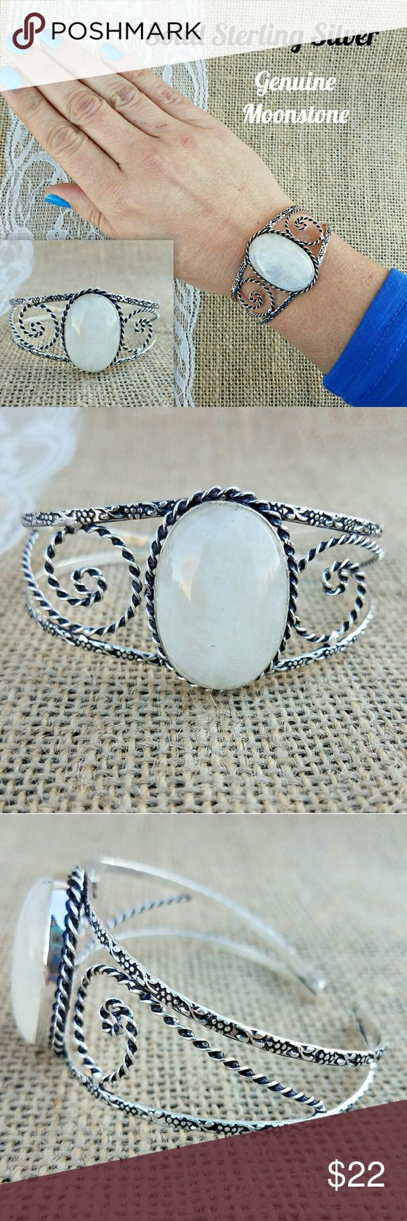 ❌SOLD Moonstone Sterling Silver Cuff Bracelet 🎁I'm currently running an additional sale. See listing at the top of my closet for details and end date.🎁  Goes back to $22 tomorrow! PRICE FIRM!   This bracelet is new. It's solid sterling silver w/a genuine Moonstone. It's bendable to allow it to fit different wrist sizes. It's 925 stamped (last pic).   *This is handmade, so it's not perfect. If you can't appreciate little imperfections (that make it unique), please don't purchase. Pics are…