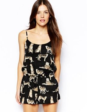 Liquorish Tiger Print Playsuit