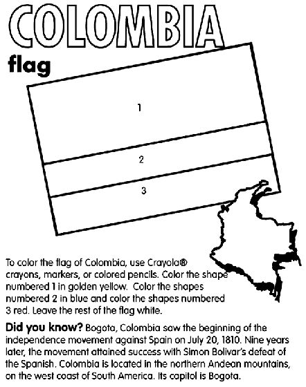 Learn the colors of the flag of Colombia, as well as the capitol of this South American country with this printable coloring page.