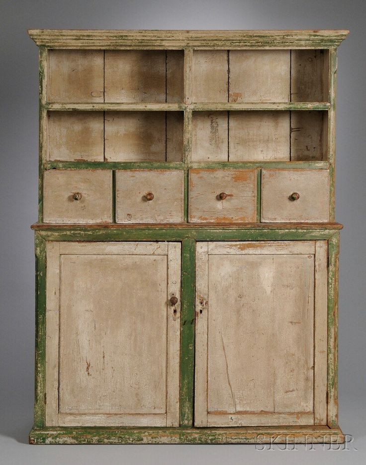 Country White-and Green-painted Pine Step-back Cupboard, second half 19th century