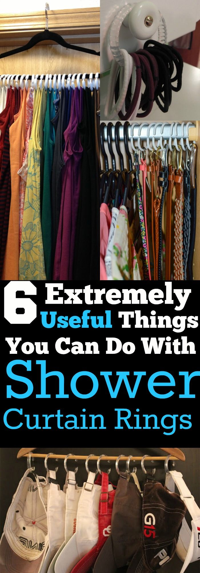 These shower curtain ring hacks have created so much space in my closet! They are super useful, and you have to try them all!