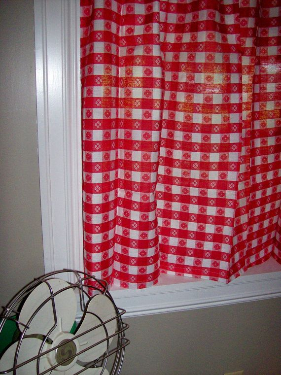 Retro Kitchen Curtains | Vintage Curtains Kitchen Red White Gingham Checked  Plaid New Old Stock .