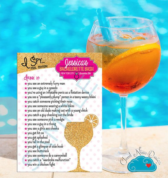 Bachelorette Party Game I Spy - Pool Party Game - CUSTOM, Glitter, White and Hot Pink - Games for the Bridal Party Printable DIY