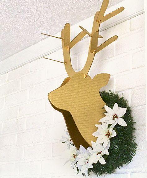 Такой милый олень сможет украсить любое помещение, и привнесет в него новогоднего настроение! :) Шаблоны смотрите тут Cardboard-Deer-Head-Pattern-dreamalit