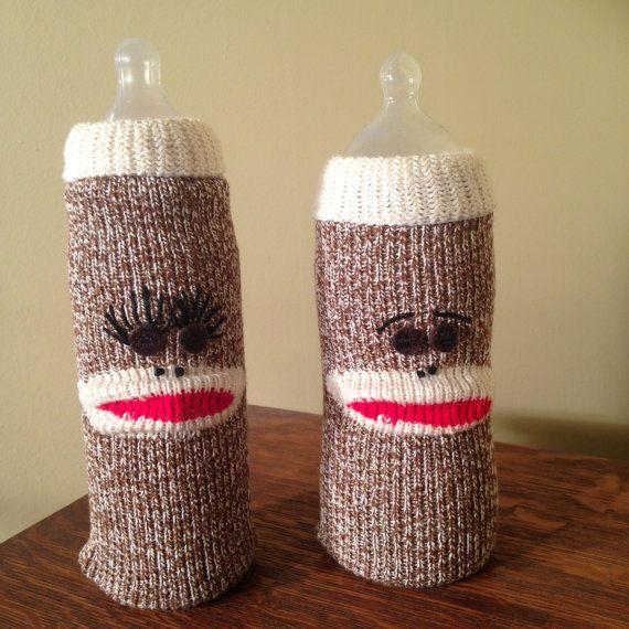 Baby Bottle Cover Sock Monkey Nursery Bottle by DarwinConnection