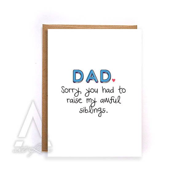 funny fathers day card, Funny sorry dad card, unique father's day card, dad ...