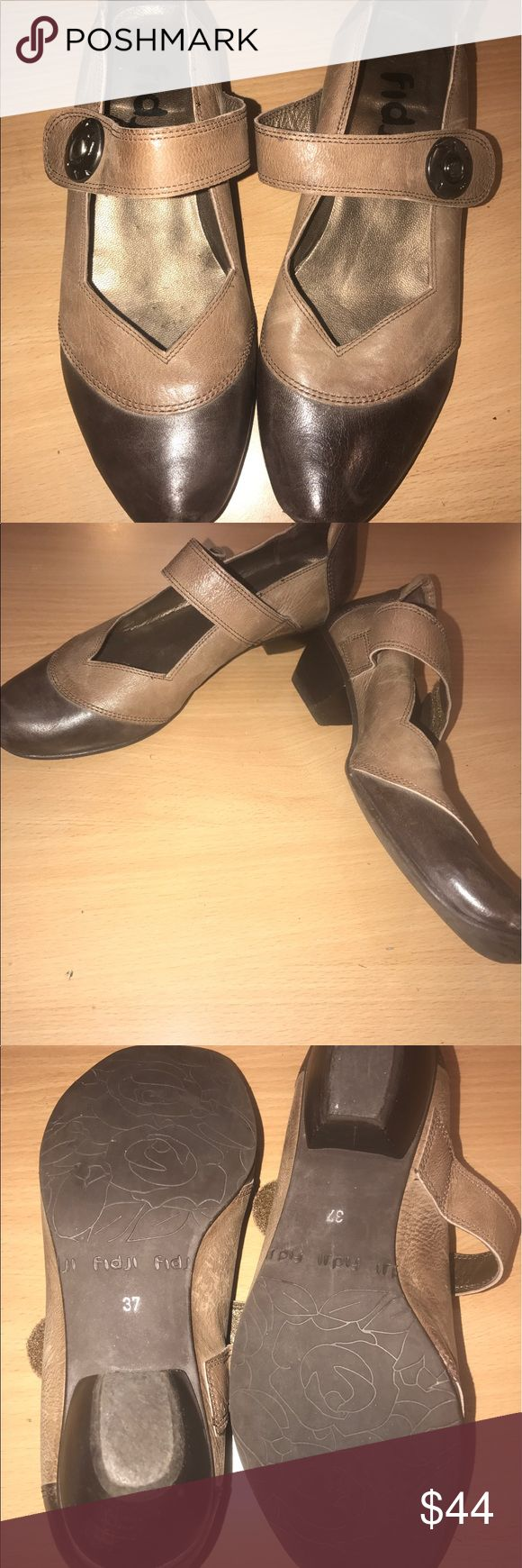 "Fidji e906 brown & taupe Mary Janes short heels. Cute, comfortable European shoes. Velcro closure, 2 tone brown and taupe. 1.5"" heel. Made in Portugal. Marked size 37. Excellent condition. fidji Shoes"