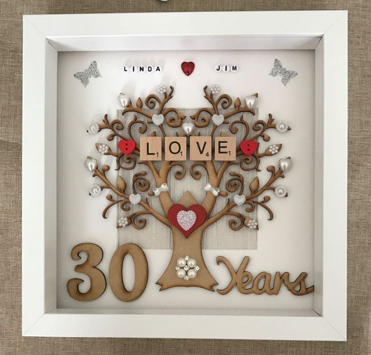 Personalised Handmade Pearl Wedding Anniversary Gift Frame With Wooden Tree Numbers Scrabble