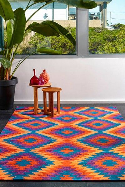 Havana, Sunset - A vibrant blue, red violet, and orange design flatweave NZ wool rug.  Available to see in store now and available to order in the following sizes:  160 x 230, 200 x 290, 250 x 350