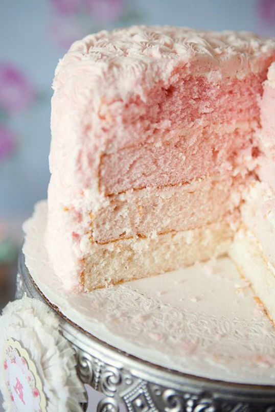 inside of cake - ombre style fading of colors for layers!   The Party Wagon - Blog - BEAUTIFUL BALLERINA BIRTHDAY PARTY