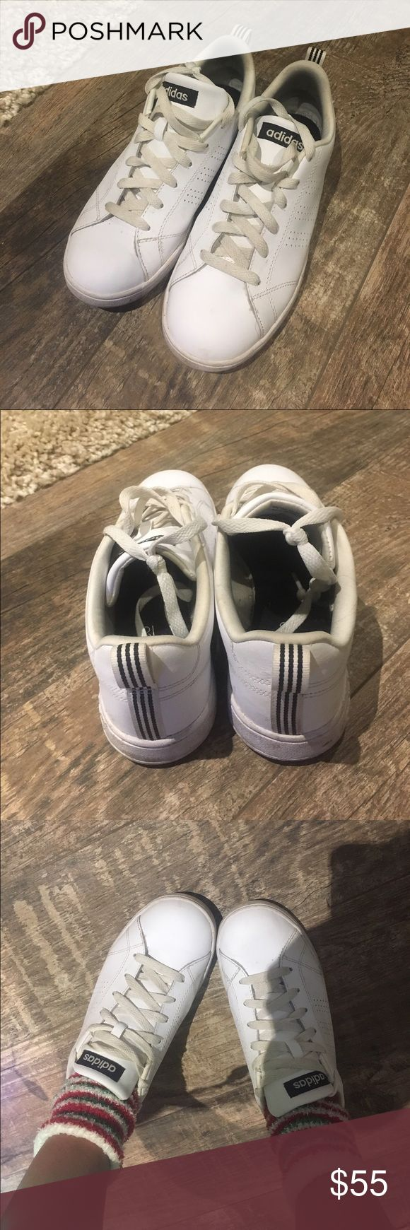 Adidas originals all white Size 7 true to size. Good condition only flaw is that they have never been cleaned. Worn a few times. Super comfy! Have too many pairs so offer up! Bought from finish line store in Charlotte Southpark mall. Use offer button. 10% OFF ASK TO CHANGE PRICE TO PURCHASE Adidas Shoes Sneakers