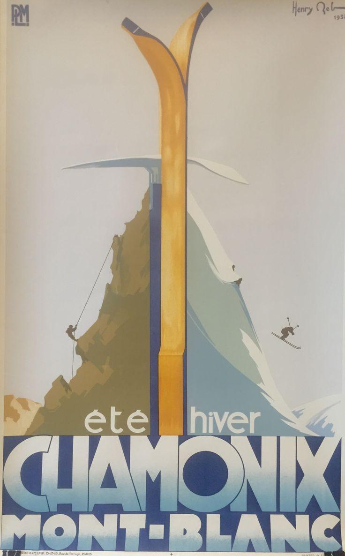 Classic Chamonix Mont-Blanc vintage poster. Art Deco bliss, c.1933.