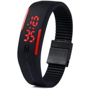 LED Reloj Digital Rojo Fecha de goma pulsera rectángulo marcado para Vender - La Tienda En Online IGOGO.ES