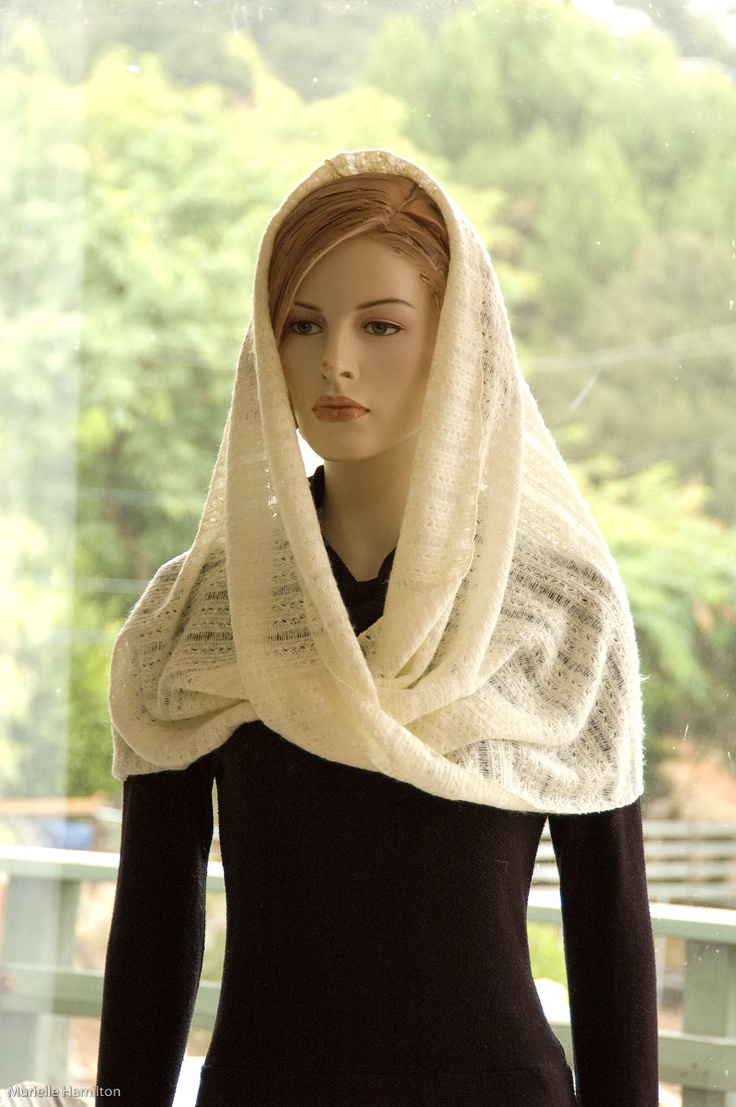 "Infinity Scarf Capelet Shawl Cream Ivory Winter White Lace Wool Knit. $42.00, via Etsy. 23"" wide by 48"" circumference (circumference is max suggested bust size)"